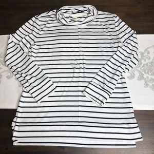 A new day white black stripped cowl neck shirt